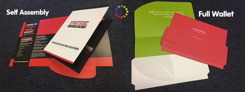 Two examples of printed presentation folders