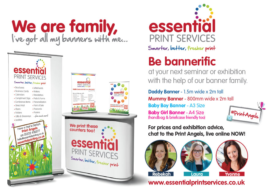 Our banner family, two rollup banners and two baby banners perfect for exhibitions large and small