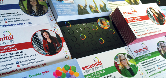 A montage of Essential Print Services' new business cards