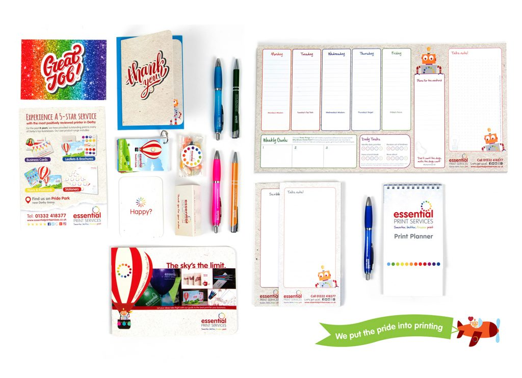 An example of printed items that will help promote your business; postcards, greeting cards, branded pens, flyers, brochures, notepads, calendars, deskpads and survey cards.
